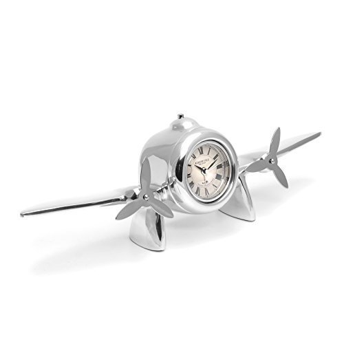 Brillibrum design tafelklok vliegtuigpropeller open haard rek decoratie wekker metaal zilver piloot vleugel klok