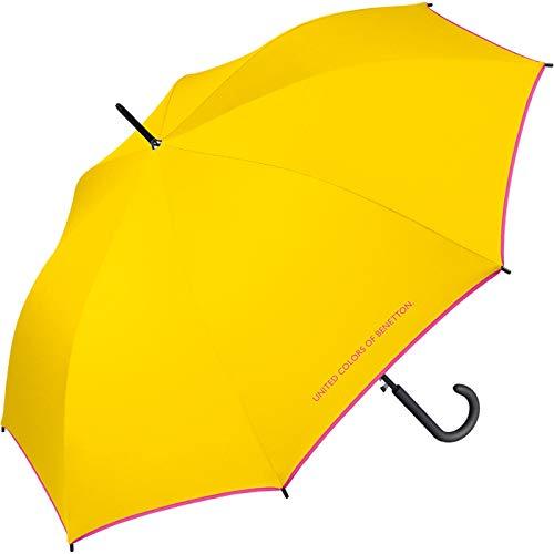 Benetton Regenschirm Stockschirm Automatik Schirm groß stabil robust (Yellow)