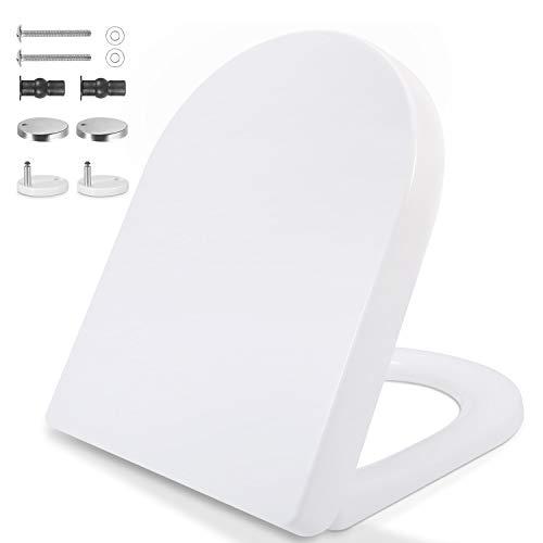 Toilettendeckel, D Form WC-Sitz Klobrille mit Absenkautomatik, Weiß PP Klodeckel mit Justierbaren Edelstahlscharnier für Einfache Installation und Reinigung, 45 x 36.5 cm