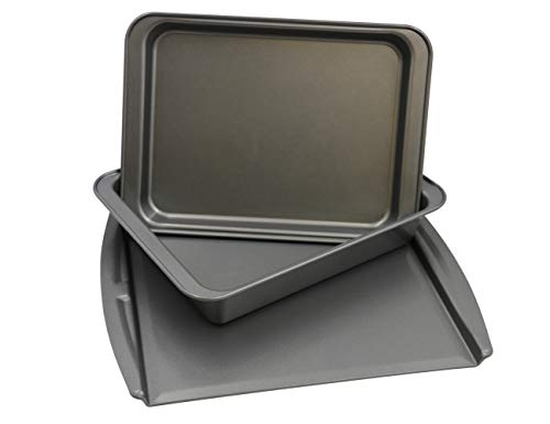 Chef Select Toaster Oven Bakeware, 3 Pan Set, Baking, Roasting, Cookie Sheet, Steel, Non-Stick, Perfect for Countertop Ovens