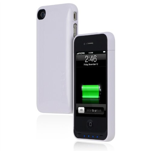 iPhone 4s Battery Case, Incipio offGRID Backup Battery Case [1450 mAh] fits Apple iPhone 4, iPhone 4s - Glossy White
