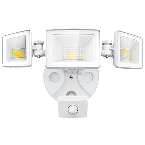 Olafus 50W Motion Sensor Flood Lights Outdoor, 5000LM LED Security Light with Motion Detector, 3 Head IP65 Waterproof Exterior PIR Floodlights, Outside Motion Lighting for Garage, Yard, 6000K White