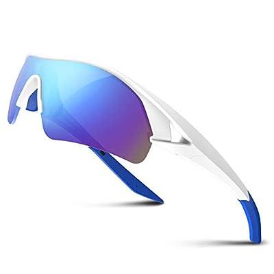 Polarized Sports Sunglasses for Men Women Youth Baseball Fishing Cycling Running Golf Motorcycle Tac Glasses UV400 (White Blue)