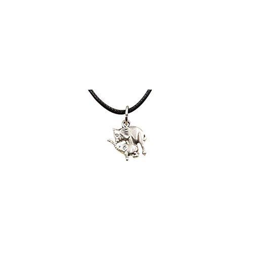 Gargantilla tibetana con colgante de plata doble elefante collar gargantilla de cuero negro