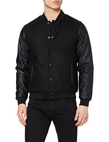 Urban Classics Herren Oldschool College Jacket Jacke, Schwarz (Blk/Blk 17), Medium