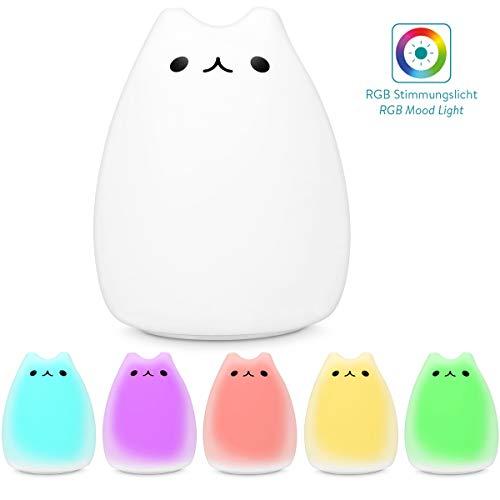 Navaris lámpara LED de gato - luz de noche con cable micro USB - lámpara nocturna de gatito - luz para bebé o niño con cambio de color - blanco