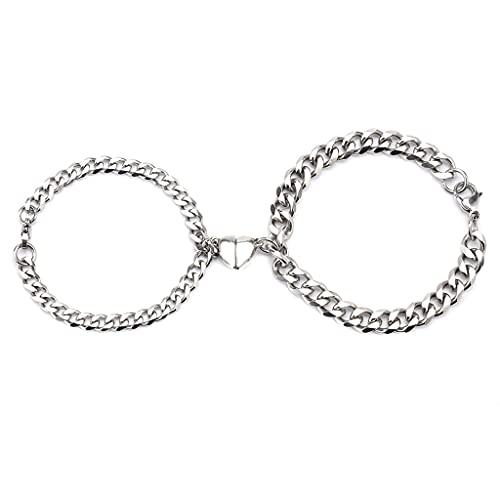 XIANZI Pulseras de la amistad, pulseras para parejas, pulseras magnéticas de acero inoxidable con forma de corazón, atractiva pulsera para hombres y mujeres, regalo de San Valentín