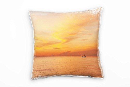 Paul Sinus Art Zee, oranje, zonsondergang, silhouet boot decoratief kussen 40x40cm voor bank sofa lounge sierkussen - decoratie om je goed te voelen