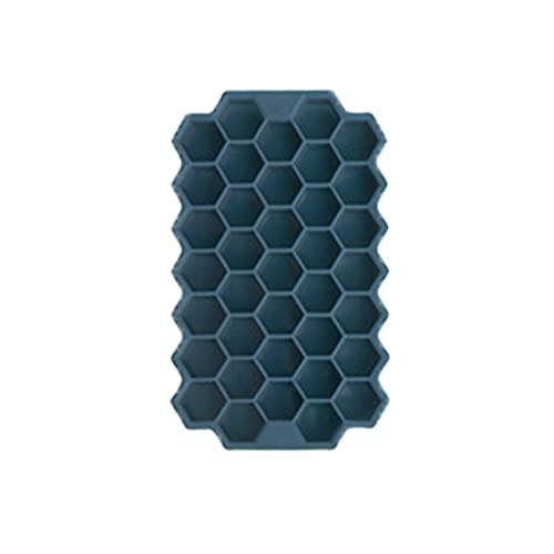 Chunjing Bandeja de Hielo de Silicona con Tapa, Bandeja de Hielo para Alimentos, Bandeja de Hielo casera, Bandeja de Hielo congelada rápidamente artefacto de refrigerad(Color:Azul Marino (con Funda))