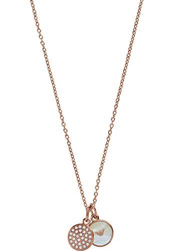 Emporio Armani EGS2158 Damen Collier SIGNATURE Edelstahl rosé Zirkonia Perlmutt 43 cm