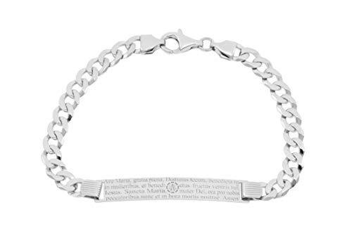 Kettenworld Pulsera de identificación con 'Ave María' – Grabado, plata de ley 925 rodiada