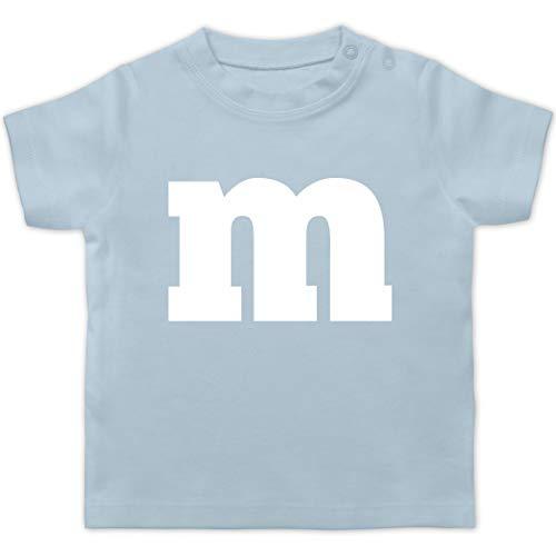 Karneval und Fasching Baby - Gruppen-Kostüm m Aufdruck - 3/6 Monate - Babyblau - Karneval Baby - BZ02 - Baby T-Shirt Kurzarm
