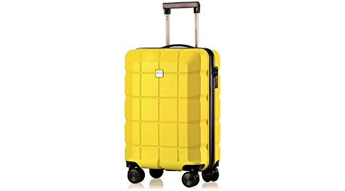 ATX Luggage 21' Super Lightweight Durable Hardshell ABS Carry On Cabin Hand Luggage Suitcases Travel Bag with 8 Wheels & Built-in Lock for Ryanair, EasyJet, BA, Jet2 (21' Carry-on, Yellow)