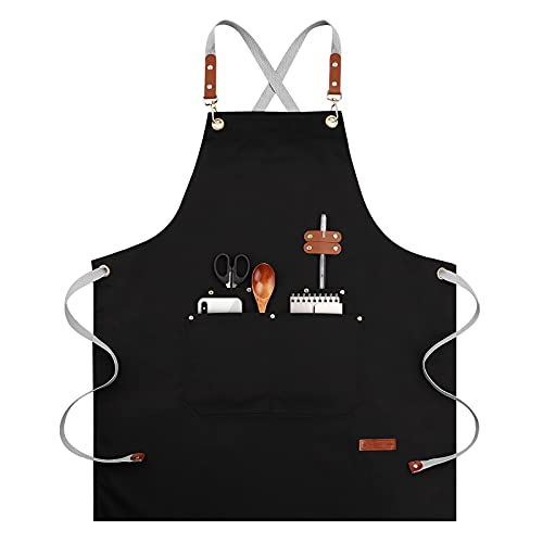 Chef Apron, Women Men Cross Back Adjustable Apron for Kitchen Cooking, BBQ & Grill Apron with 4 Pockets - Waterdrop Resistant Cotton Canvas Unisex Apron(M-XXL)