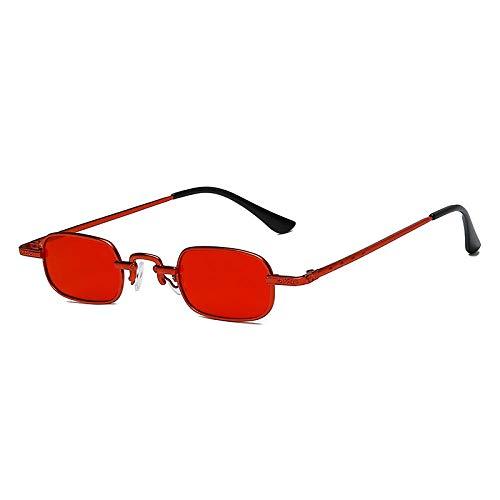 Gafas de sol retro para hombres y mujeres Tendencia europea y americana Gafas de sol cuadradas pequeñas Gafas de sol-Marco rojo