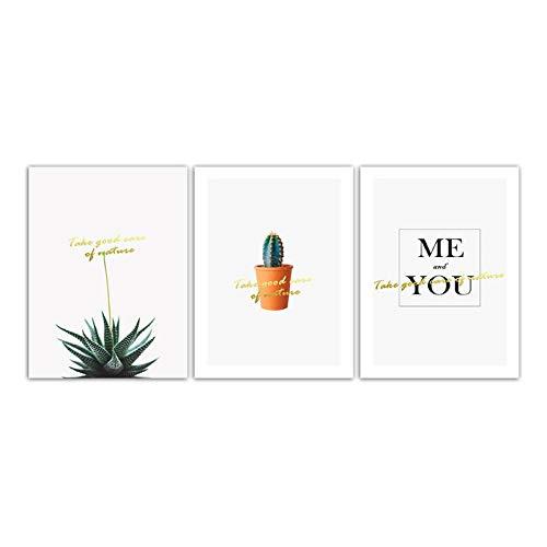 kaxiou minimalistisch Scandinavisch aquarel schilderijen, canvas, bedrukt, tekening cartoon, cactus, foto, wand, kunst, woonkamer, slaapkamer, nachtkastje, decoratie, 40 x 60 cm, 3 stuks zonder lijst
