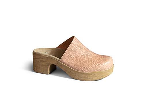 Calou Stockholm Clog Soft Low Heel - Swedish Clogs- Woman Clogs Lea Pink (40, Pink)