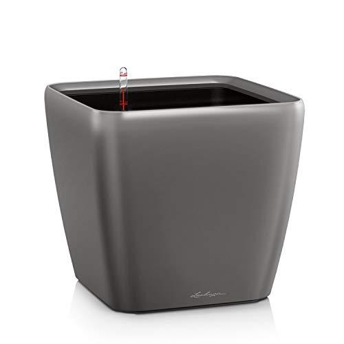 LECHUZA QUADRO Premium LS 35, Anthrazit Metallic, Hochwertiger Kunststoff, Inkl. Bewässerungssystem, Herausnehmbarer Pflanzeinsatz, Für Innen- und Außenbereich, 16163
