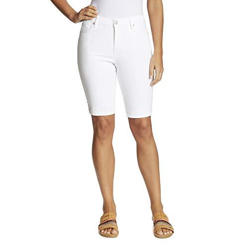 Gloria Vanderbilt Women's Mid Rise Feminine Cut Bermuda Short, Vintage White, 18 Regular