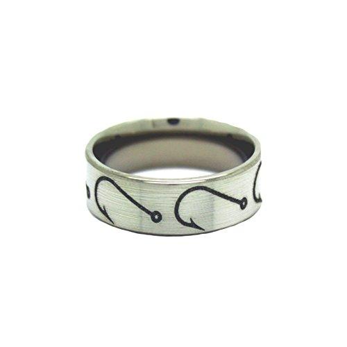 #1 Camo Fishing Hooks Ring - Fishing Wedding Band - Fish Hook Jewelry - Ring Size 10