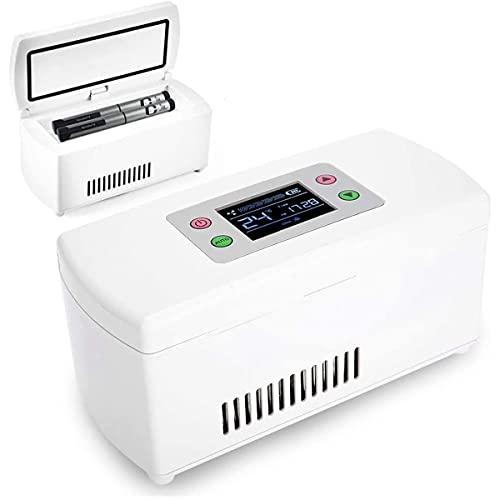 ZCM-JSDTWS Insulin Kühlbox, Tragbare Insulin Kühlbox für Medikamente Mini Intelligente Elektrische Kühlschrank Kühltasche Thermostat unter 25 ° C USB Ladekabel für Reise&Haushalt,2Batteries