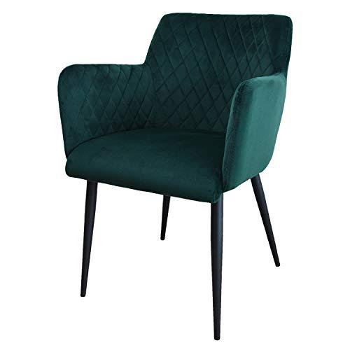 Damiware Rose Stuhl | Design Wohnzimmerstuhl Esszimmerstuhle Bürostuhl mit Stoffbezug | (Samt Dunkelgrün)