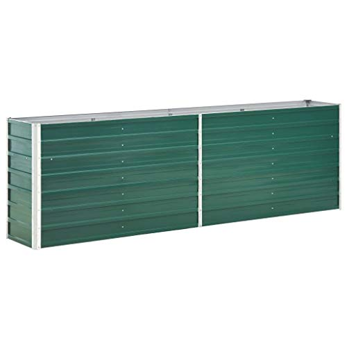 SKM Garden Raised Bed Galvanised Steel 240x40x77 cm Green