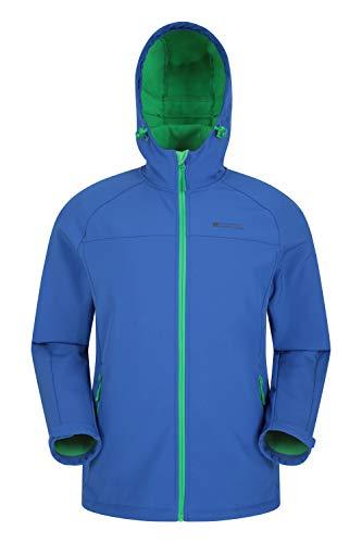 Mountain Warehouse Chaqueta Softshell Exodus para Hombre - Chaqueta Casual de diseño práctico, Impermeable, Dobladillo, Capucha y puños Ajustables Azul M