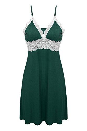 Ekouaer Womens Sleeveless Sleepwear Dress Nightgown Lingerie,Viscose-green,Medium