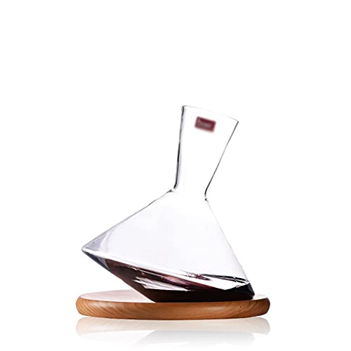 Decantador de vaso 1800 ml Revolucionando rápido decantación de vino Free-Free Vidrio Botella de vino Regalo con bandeja de madera maciza adecuada para whisky vino ron brandy