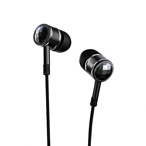 1más de cristal swarovski–Auriculares in-ear con micrófono y Control Remoto (Negro)