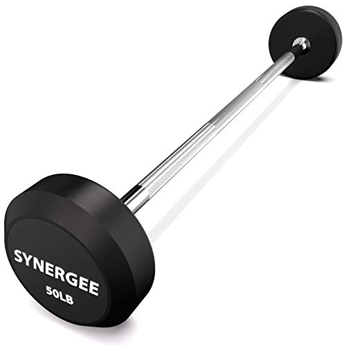 Synergee Fixed 50LB Barbell - Pre Weighted Straight Steel Bar with Rubber Weights - Fixed Weight