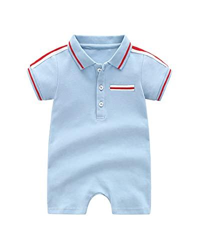 JanLEESi Baby Boy's Romper Shirt Short Sleeve Cotton Onesie Polo Bodysuit,Blue,9-12M