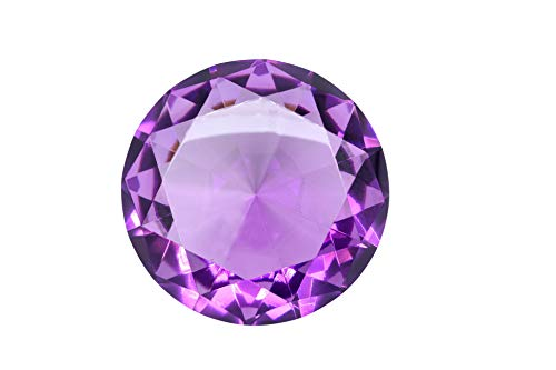 100mm (3.93 inch) Amethyst Purple Diamond Shaped Crystal Jewel Paperweight by Tripact