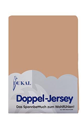 Dukal, Spannbettlaken, für runde & achteckige Matratzen! Durchmesser ca. 255-265 cm, aus hochwertigem DOPPEL-Jersey (100% Baumwolle), Farbe: Camel