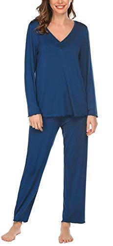 Pinspark Schlafanzug Damen Lang Zweiteiliger Pyjama Set Langzarm Nachtwäsche Atmungsaktiv Sleepwear Set inkl. Hose Top
