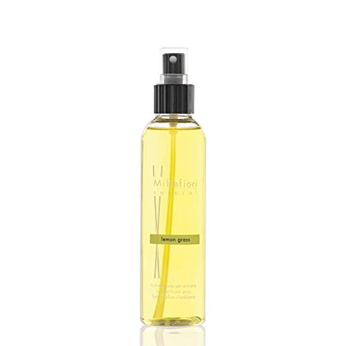 Millefiori Lemon Grass Luxuriöse Raumspray Natural 150 ml, Plastik, Gelb, 4.2 x 3.4 x 16.7 cm