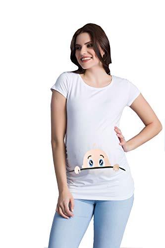 M.M.C. Neugieriges Baby - Camiseta Divertida y Divertida con diseño para Embarazadas (Manga Corta) Blanco M