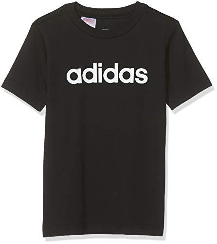 adidas YB E Lin Tee, T-Shirt Bambino, Black/White, 4-5Y