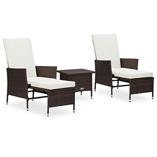 Tidyard Set de Muebles de Jardín 3 pzas y Cojines Mesa y 2 Sillones para Jardin Terraza Exterior Ratán Sintético Marrón