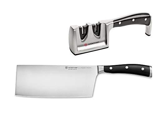 Wüsthof Set di coltelli 2 pezzi, Classic Ikon (1120360203), incl. Coltello da chef cinese (lama da 18 cm) e affilacoltelli, set di coltelli da cucina forgiati