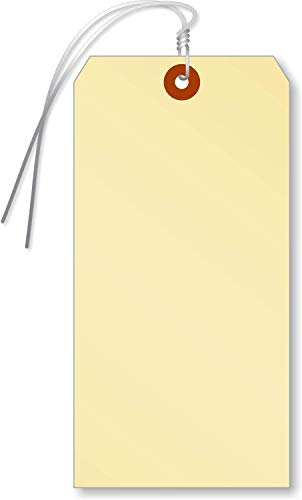 SmartSign Blank Manila Shipping Tags with Wire   7 1/4