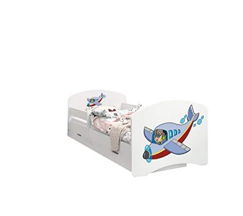 Happy Babies - Doppelseitiges KINDERBETT MIT SCHUBLADE Modernes Design mit sicheren Kanten und Absturzsicherung Schaumstoffmatratze 7 cm. (160x80, 45. Flugzeug)