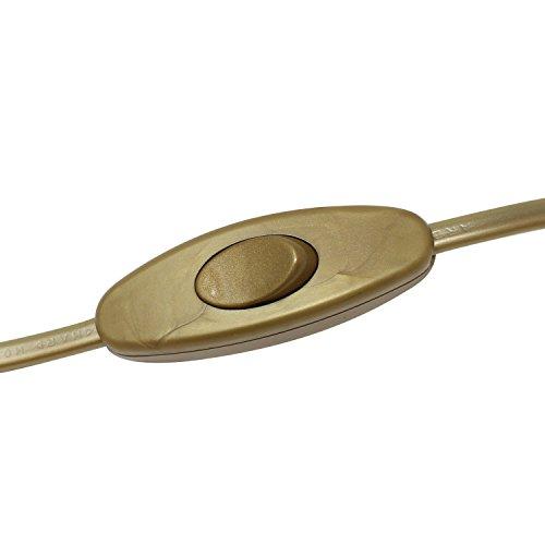 Cable de conexión alimentación con clavija enchufe europea UE interruptor de mano 2x0,75 longitud 2 metros (100cm a clavija europea 100cm a extremo libre) en color Oro