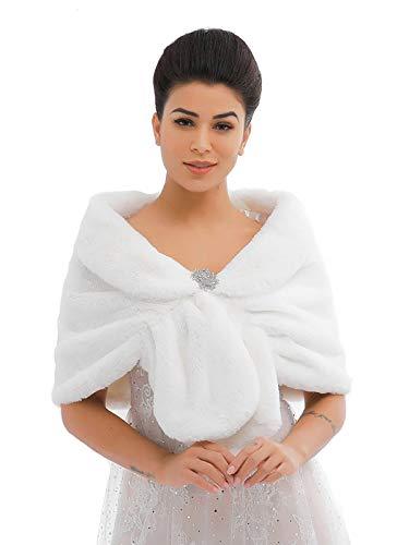Unicra - Sciarpa da donna in finta pelliccia di volpe marrone con scialli e impacchi da sposa in pelliccia sintetica per sposa e damigelle d'onore bianco Etichettalia unica