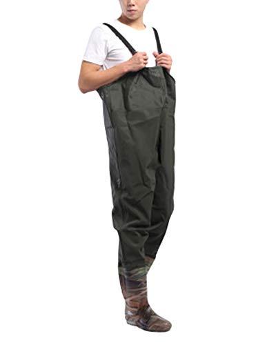 DianshaoA Sling Overall Starten Fischen Angelhose Brust Outdoor Sports Regenhose Für Herren Sogar Füße Wasserdicht Armeegrün 75 42
