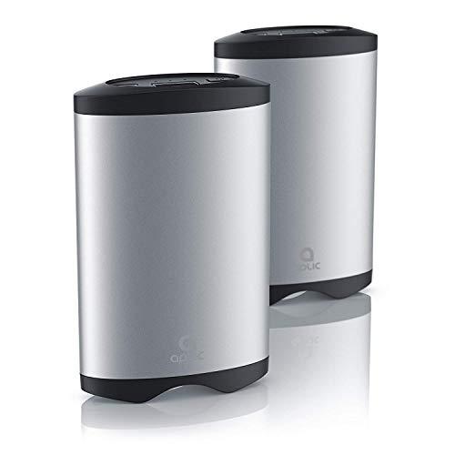 aplic - 2 Calentadores de Manos USB con Banco de Potencia Recargable - 5200mA - Batería portátil para teléfono móvil con 5200mAh Recarga a través de USB - ON Off - Aluminio Ligero y plástico