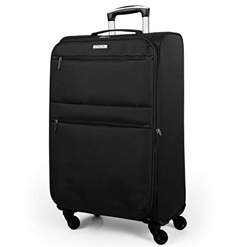 ITACA - Trolley suitcase, 70 cm, large size XL. Polyester EVA. Extensible. Half-rigid, resistant, robust and light. Large capacity. Telescopic handle, 2 retractable handle, 4 wheels I5277, Color Black