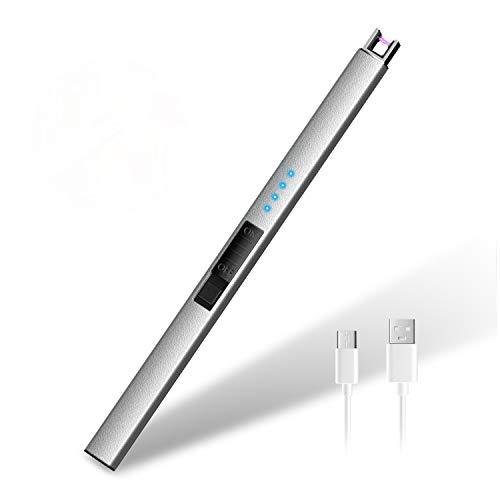 HOTERB Encendedor Electrico,Encendedor Cocina Electrico con Puerto USB Tipo C,Pantalla LED de Batería,Mechero Electrico USB Recargable para Encender el Cigarro,Cigarrillos,Cocina,Barbacoa(Plata)