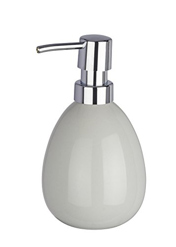 WENKO Seifenspender Polaris, nachfüllbarer Seifendosierer für Flüssigseife und Lotion aus hochwertiger Keramik, 10 x 16,5 x 9,4 cm, Füllmenge 390 ml, Pastell-Grau